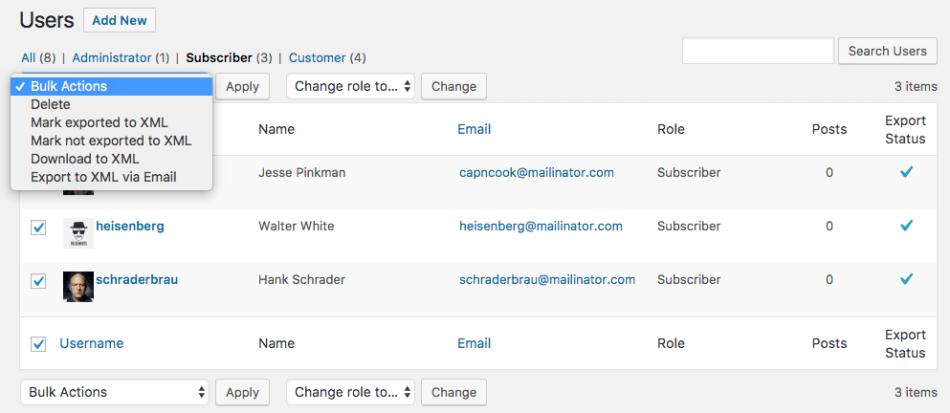 WooCommerce Customer / Order XML Export customer bulk export