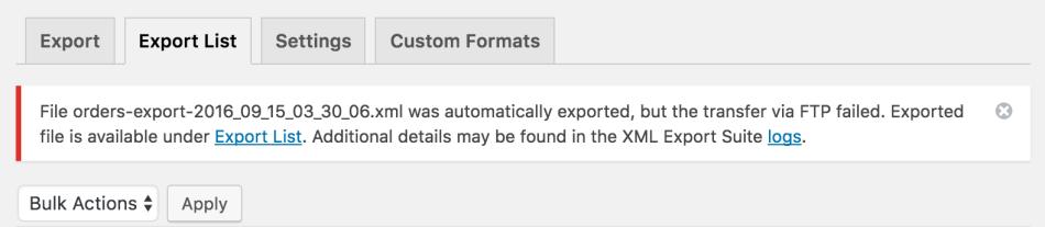 WooCommerce Customer / Order XML Export transfer failure