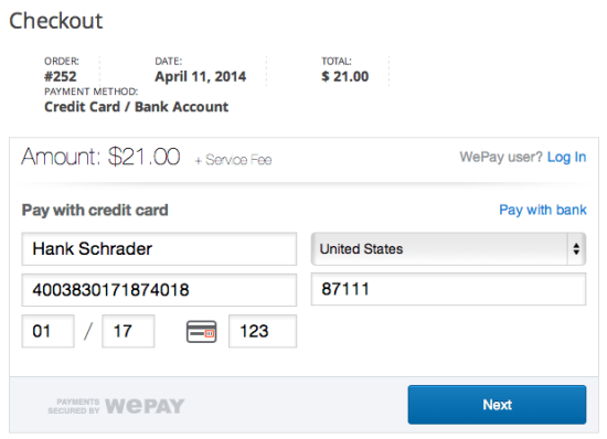 WooCommerce WePay iframe checkout