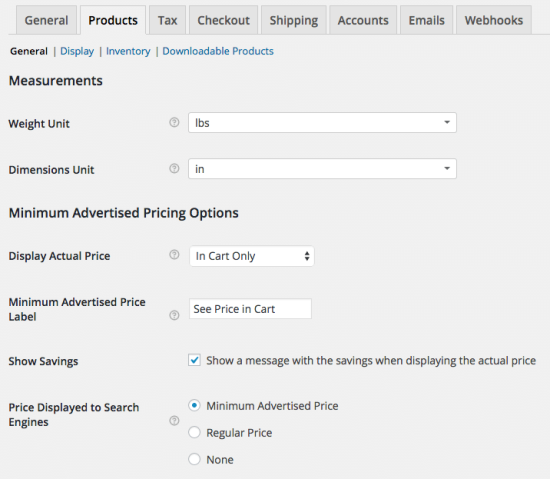 WooCommerce minimum advertised price settings