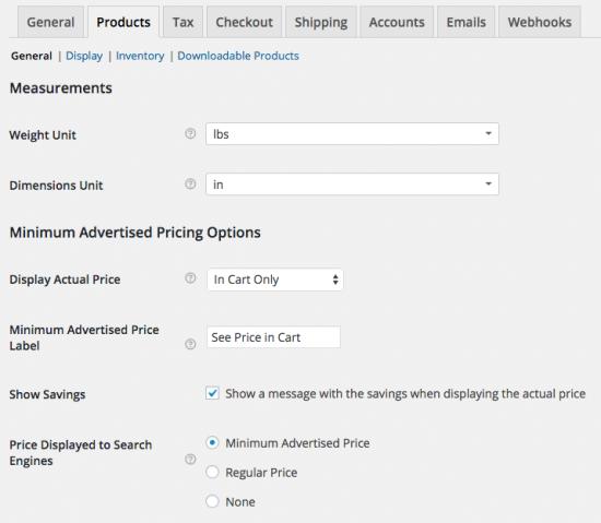 WooCommerce minimum advertised price settings