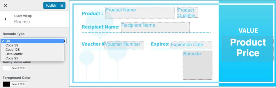 WooCommerce PDF Product Vouchers barcode settings