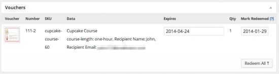 WooCommerce PDF Product Vouchers Order Data