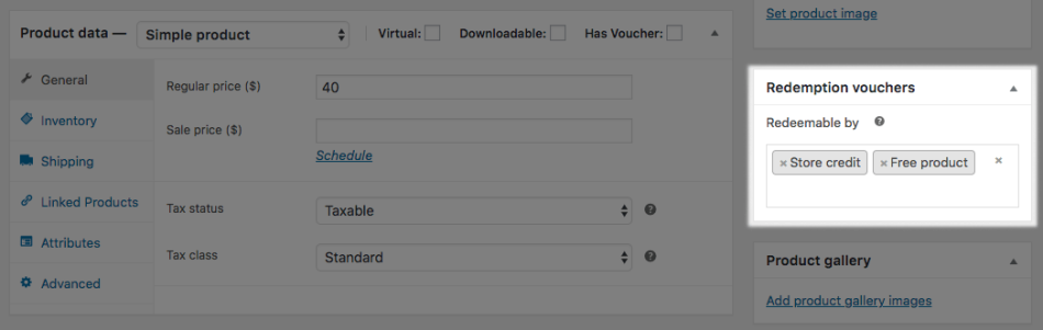 WooCommerce PDF Product Vouchers: mark redeemable products