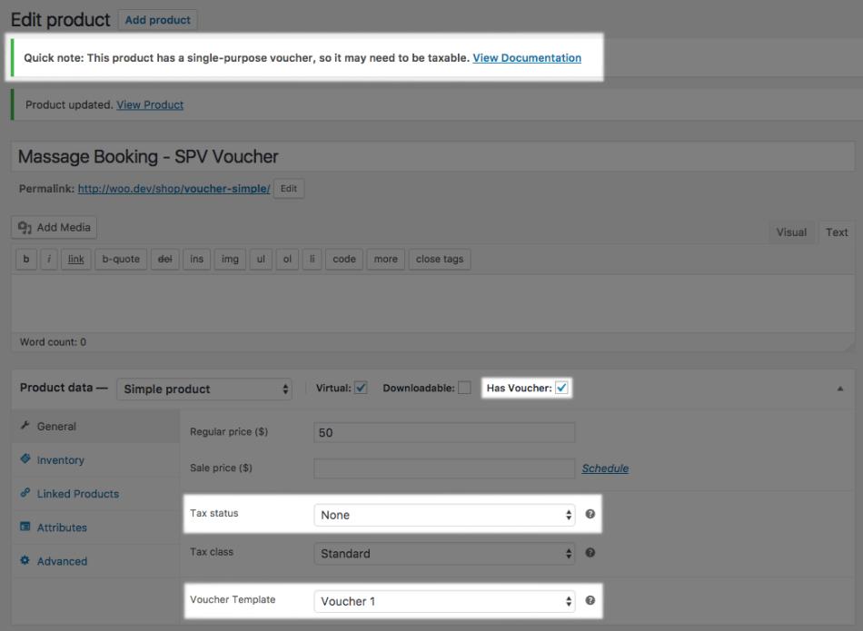 WooCommerce PDF product vouchers; SPV tax hint