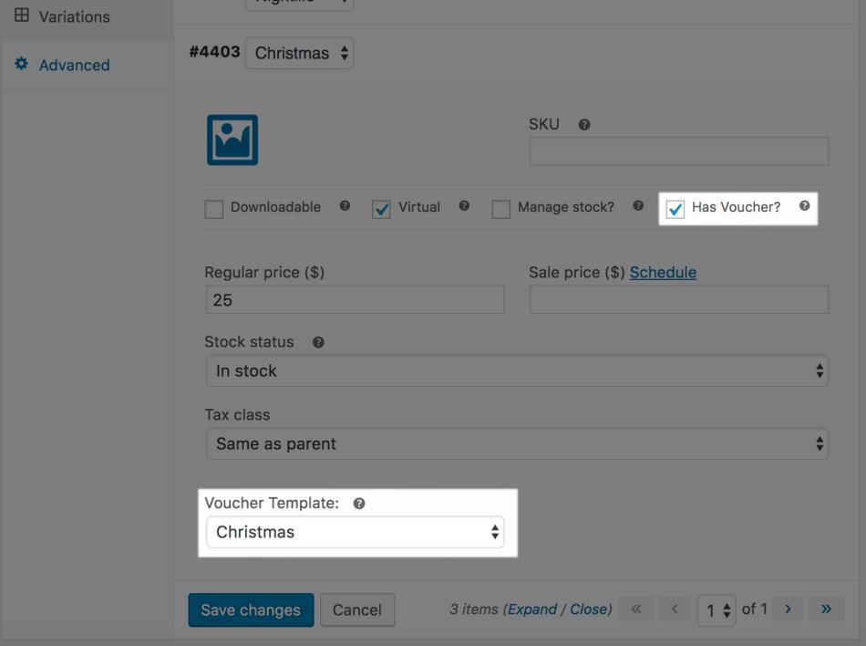 WooCommerce PDF Product Vouchers: Attach voucher (variable)