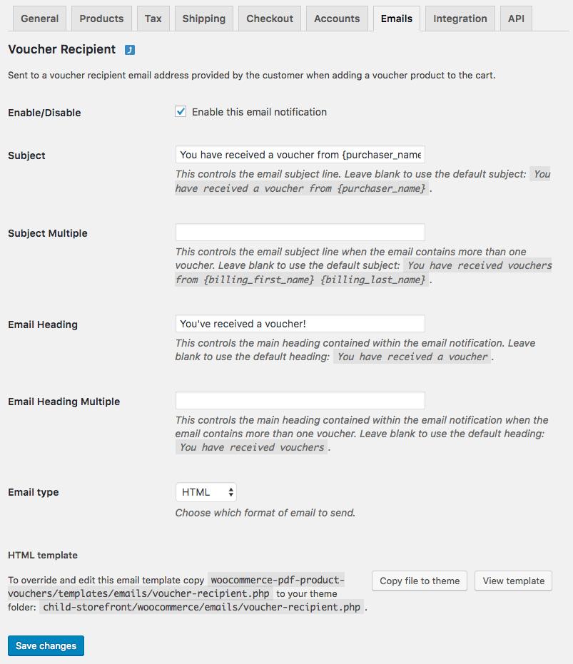 WooCommerce PDF Product Vouchers: recipient email