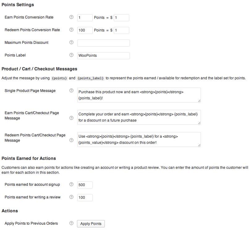 WooCommerce Points & Rewards Settings