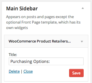 WooCommerce Product Retailers add widget