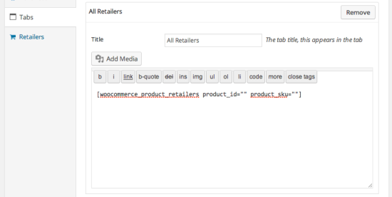 WooCommerce Product Retailers add shortcode