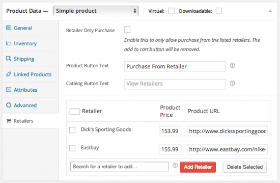 WooCommerce Product Retailers Assign to Product