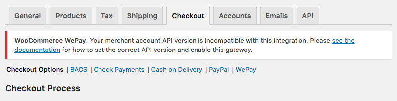 WooCommerce WePay API version unmatched
