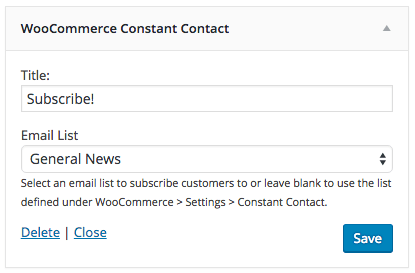 WooCommerce Constant Contact add widget