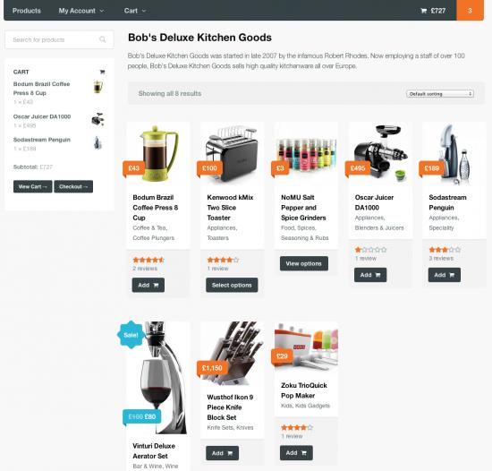 Vendor shop page