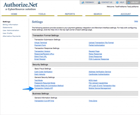 WooCommerce Authorize.Net Reporting Setup 2