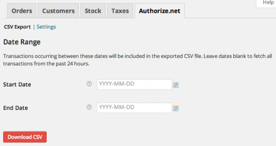 WooCommerce Authorize.Net Reporting CSV Export