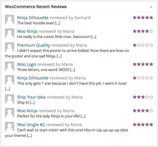 WooCommerce Recent Reviews Dashboard Widget