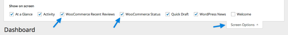 WooCommerce Screen Options
