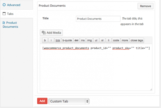 WooCommerce Product Documents Shortcode Backend