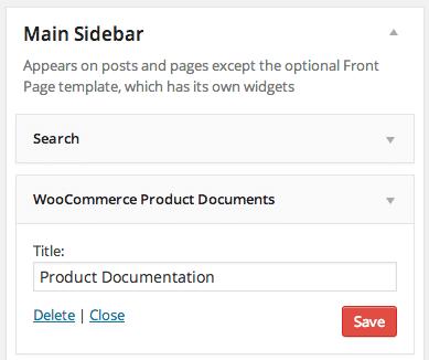 WooCommerce-Produktdokumente Widget hinzufügen
