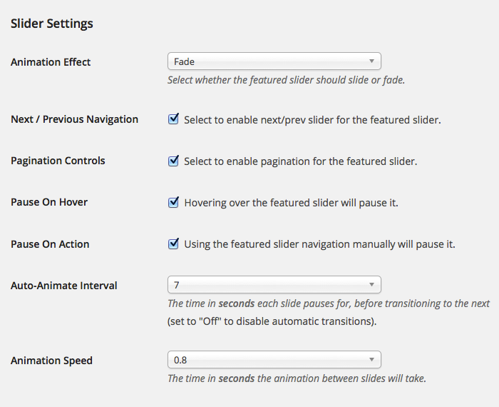 For The Cause - Featured Slider Settings