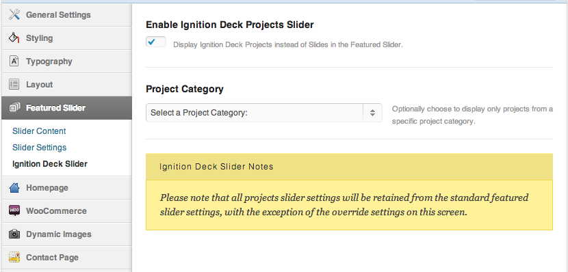 The IgnitionDeck slider settings