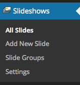 Slideshows Menu – WooSlider Installed