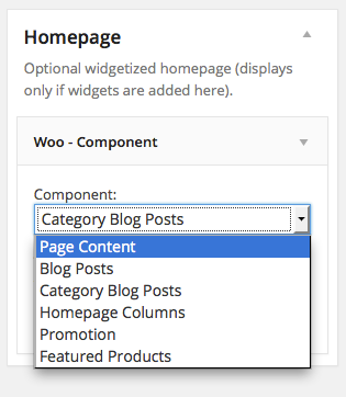 Widgetized homepage components