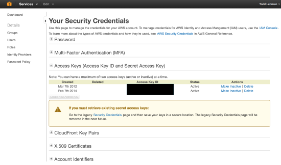 Amazon Web Services Security Credentials Create Access Key