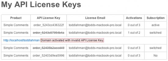 My Account API Key Dashboard Error