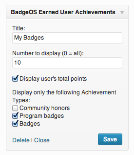 BadgeOS Earned User Achievement Widget