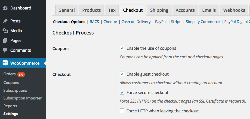 Force HTTP When Leaving Checkout Setting