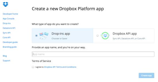 Save to Dropbox Drop-ins App