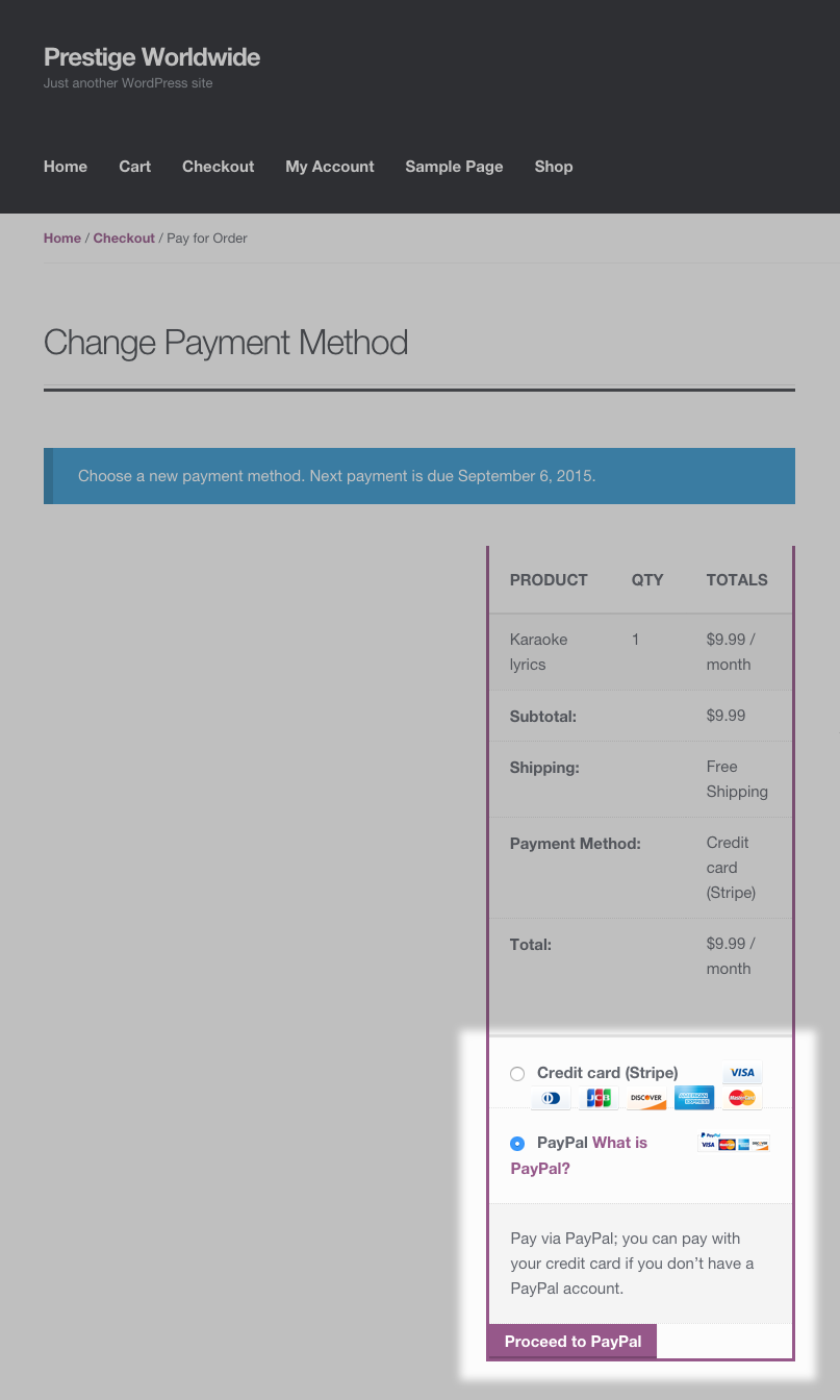 2 - Customer Chooses a New Payment Method