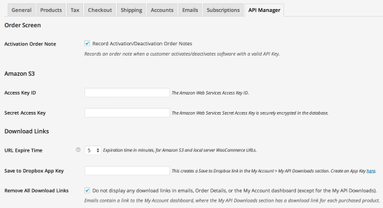 WooCommerce API Manager Settings