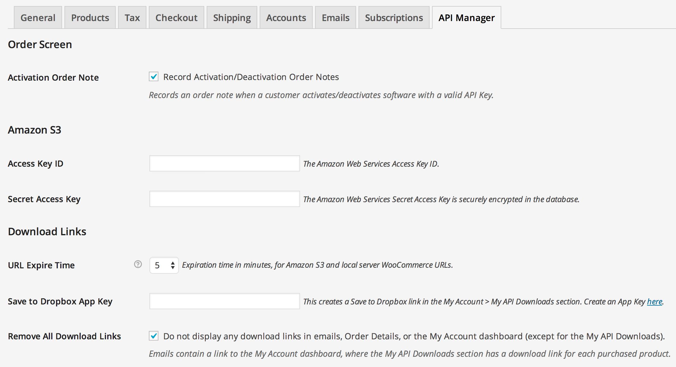 Uk customer account create/downloader - Woocommerce Api Manager Settings