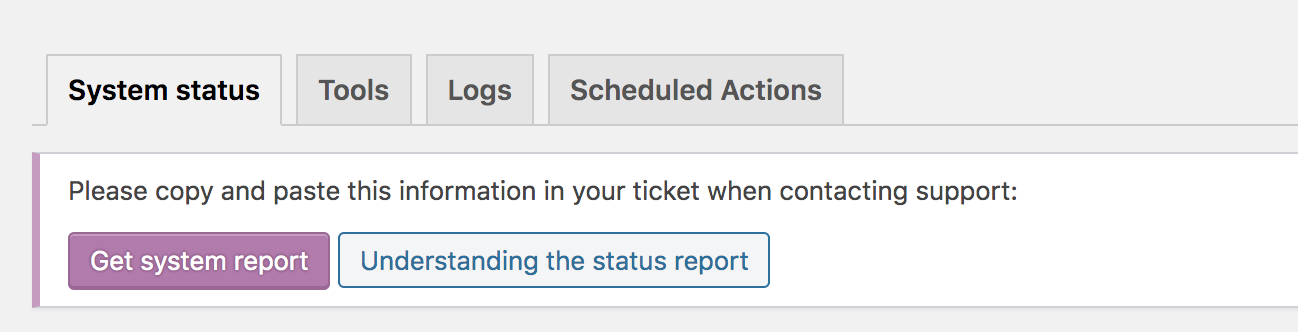 The status menu item leads to the System Status tab, which is to the left of the Tools, Logs, and Scheculed Actions tags.