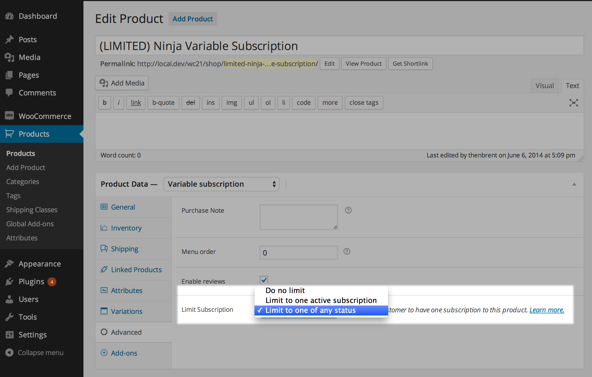Limit Subscriptions Setting Screenshot