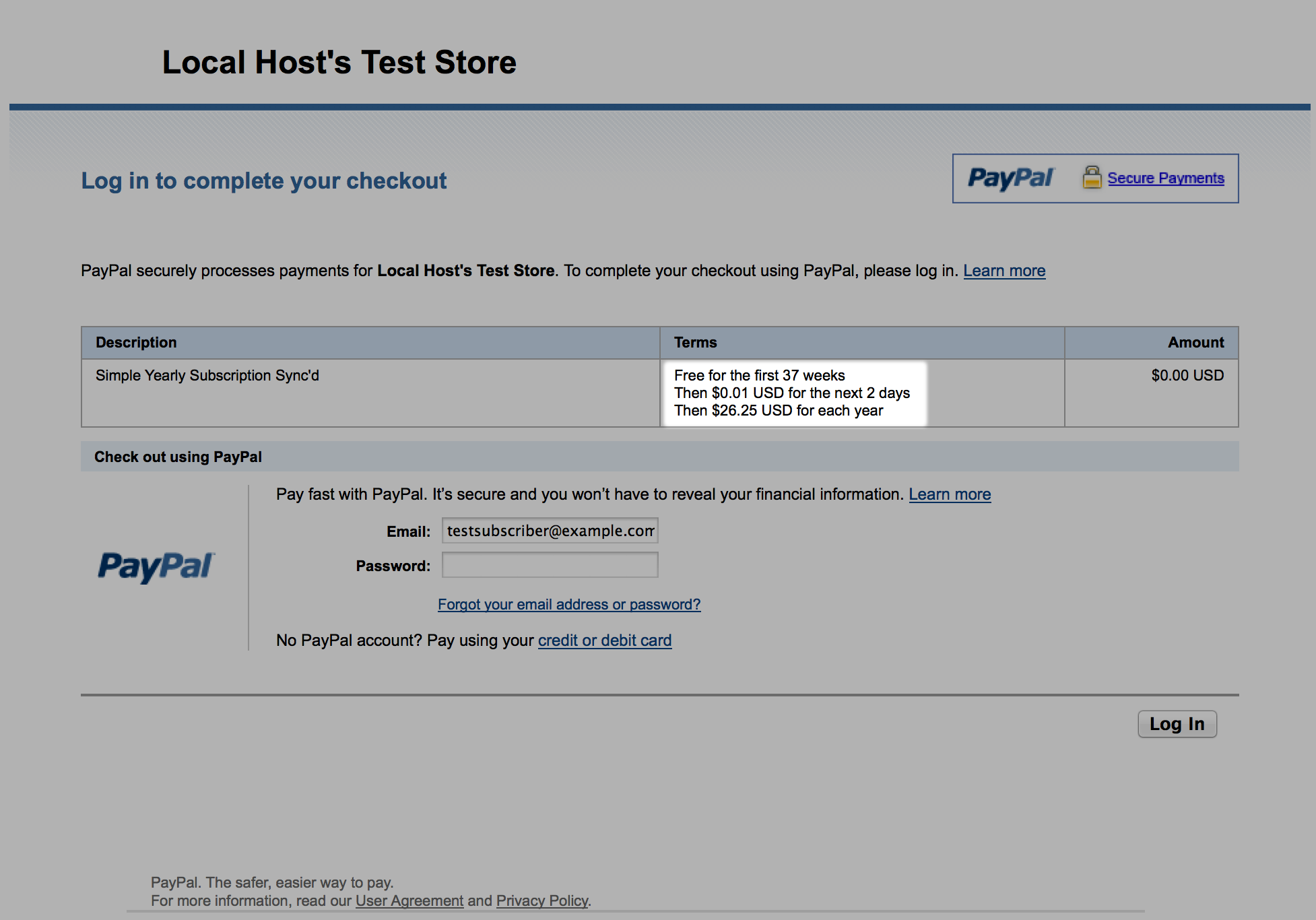 Screenshot of two trial periods with PayPal Standard