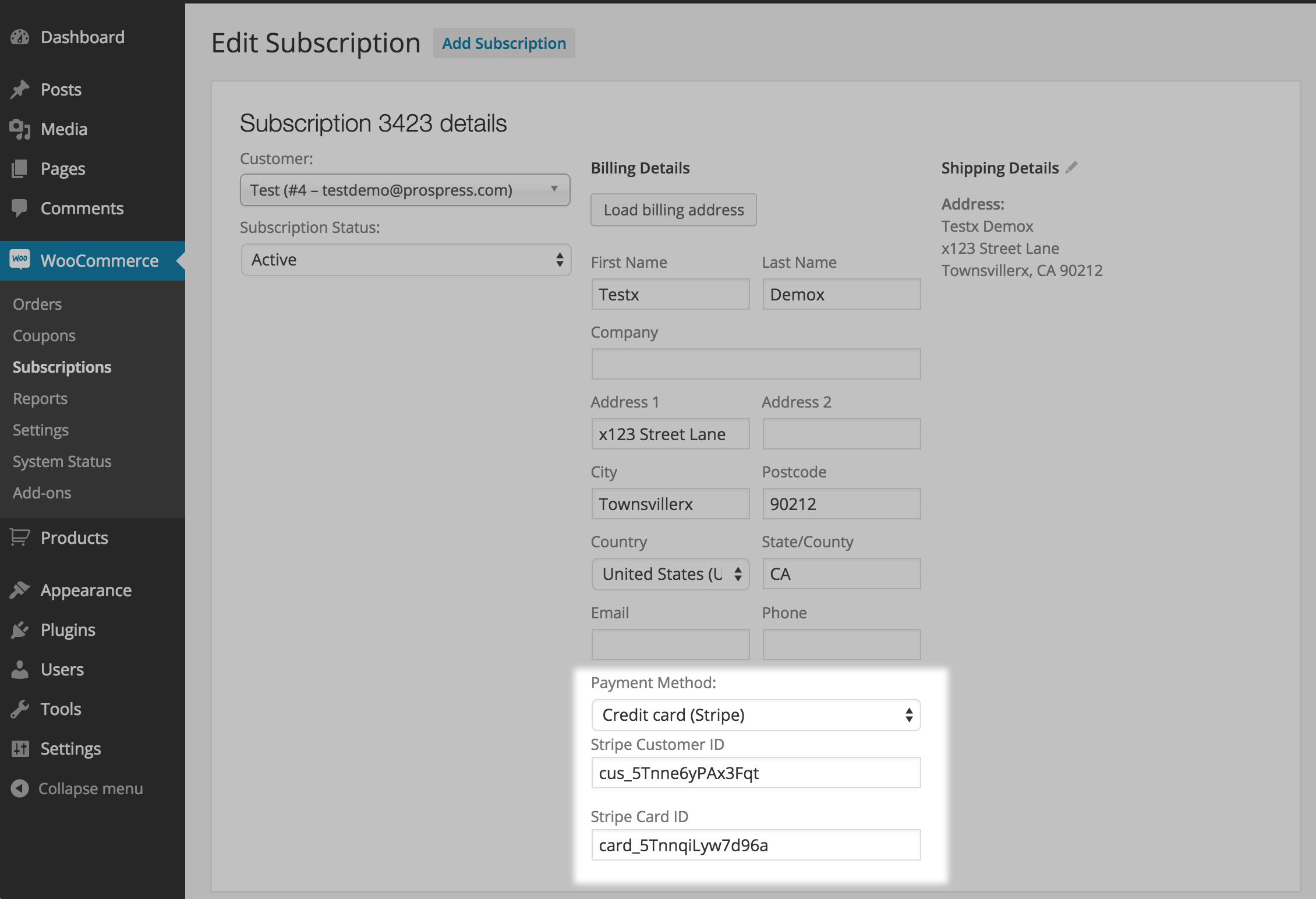 Set Recurring Payment Method on Subscription