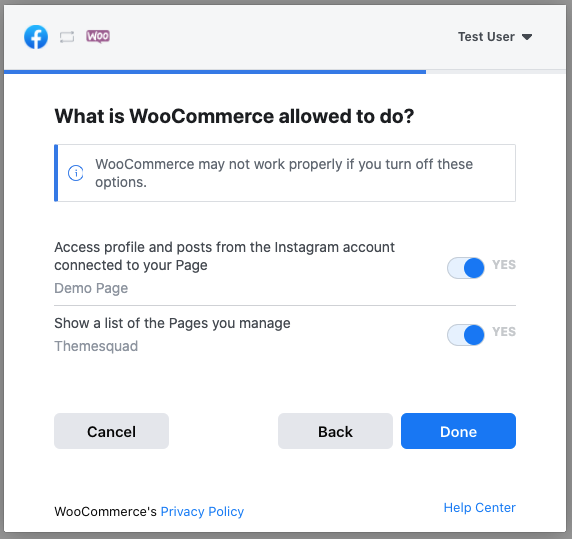 Check the permissions requests by the WooCommerce Instagram app