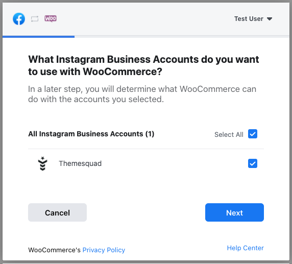 Choose the Instagram Business Account to use in your integration.