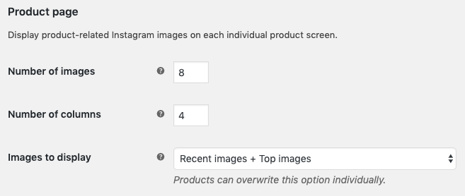 Instagram settings for the product pages