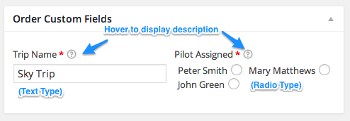 WooCommerce Admin Custom Order Fields | Field Types