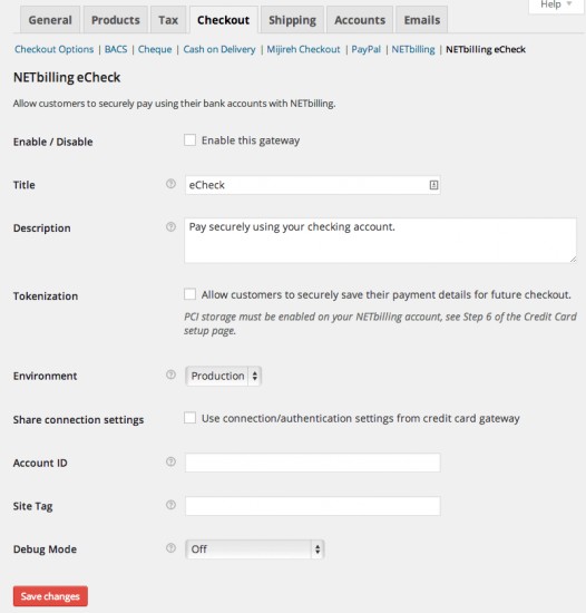 WooCommerce NETbilling Payment Gateway eCheck Settings