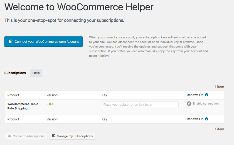 WooCommerce Helper Screen