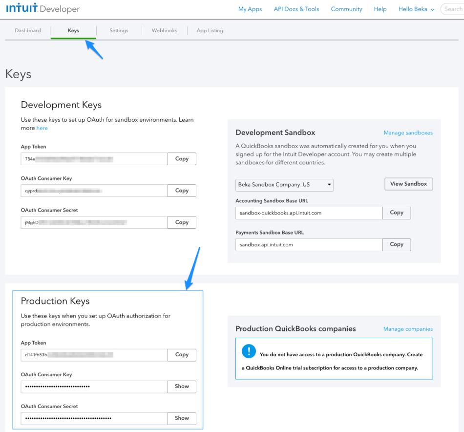 WooCommerce Intuit Payments API keys