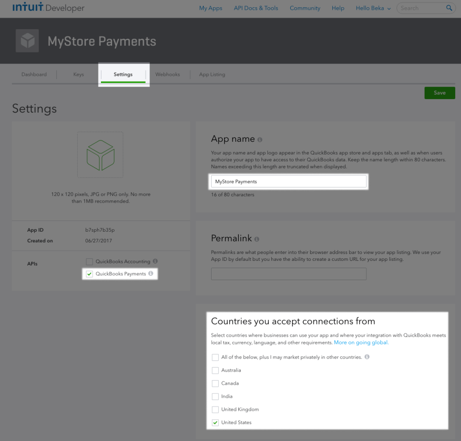 WooCommerce Intuit Payments App Settings 1