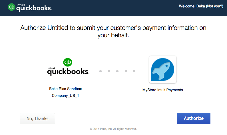 WooCommerce Intuit Payments: Connect to App