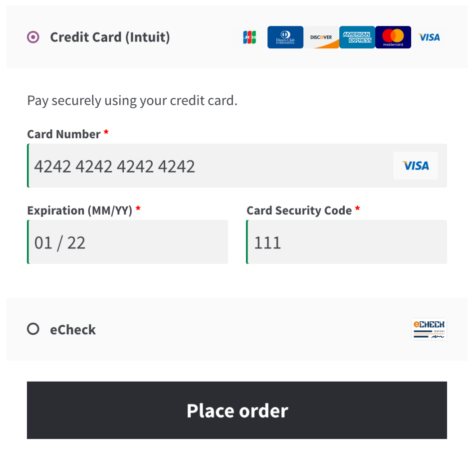 WooCommerce Intuit Payments Credit Card form